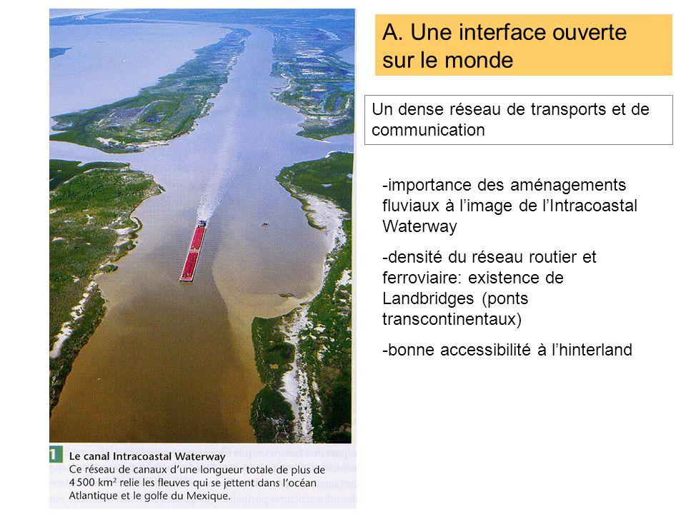 A. Une interface ouverte sur le monde Un dense réseau de transports et de communication -importance des aménagements fluviaux à limage de lIntracoasta