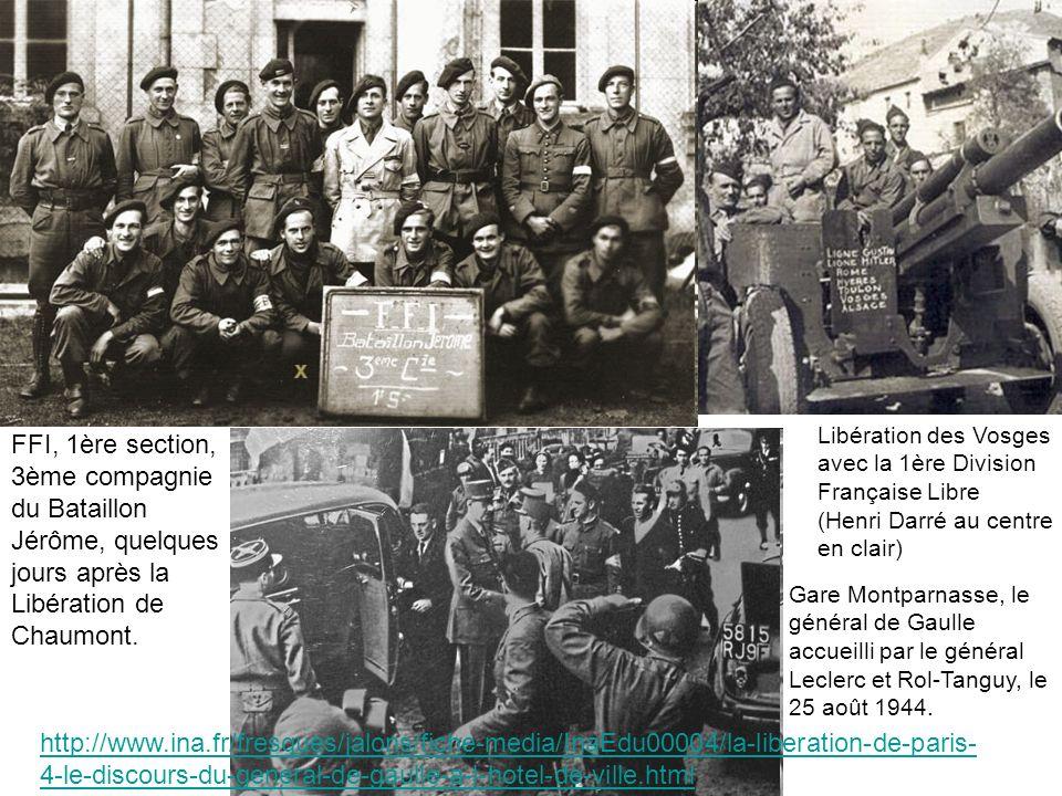 Libération des Vosges avec la 1ère Division Française Libre (Henri Darré au centre en clair) FFI, 1ère section, 3ème compagnie du Bataillon Jérôme, qu