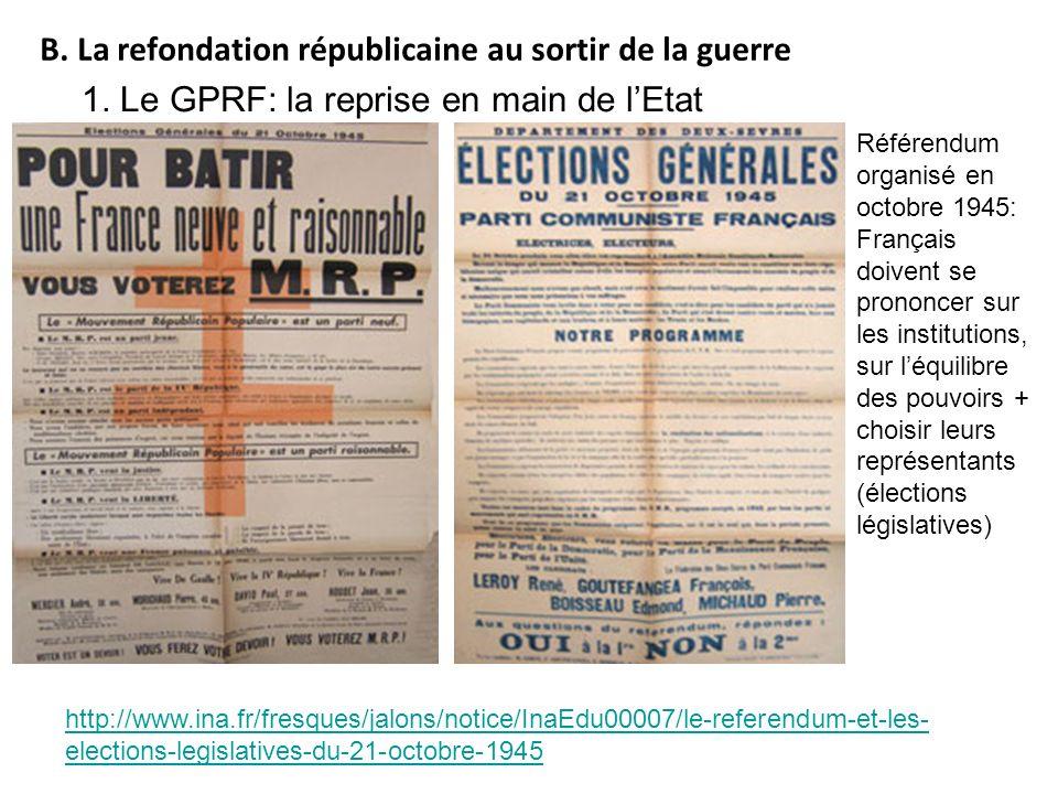 http://www.ina.fr/fresques/jalons/notice/InaEdu00007/le-referendum-et-les- elections-legislatives-du-21-octobre-1945 B. La refondation républicaine au