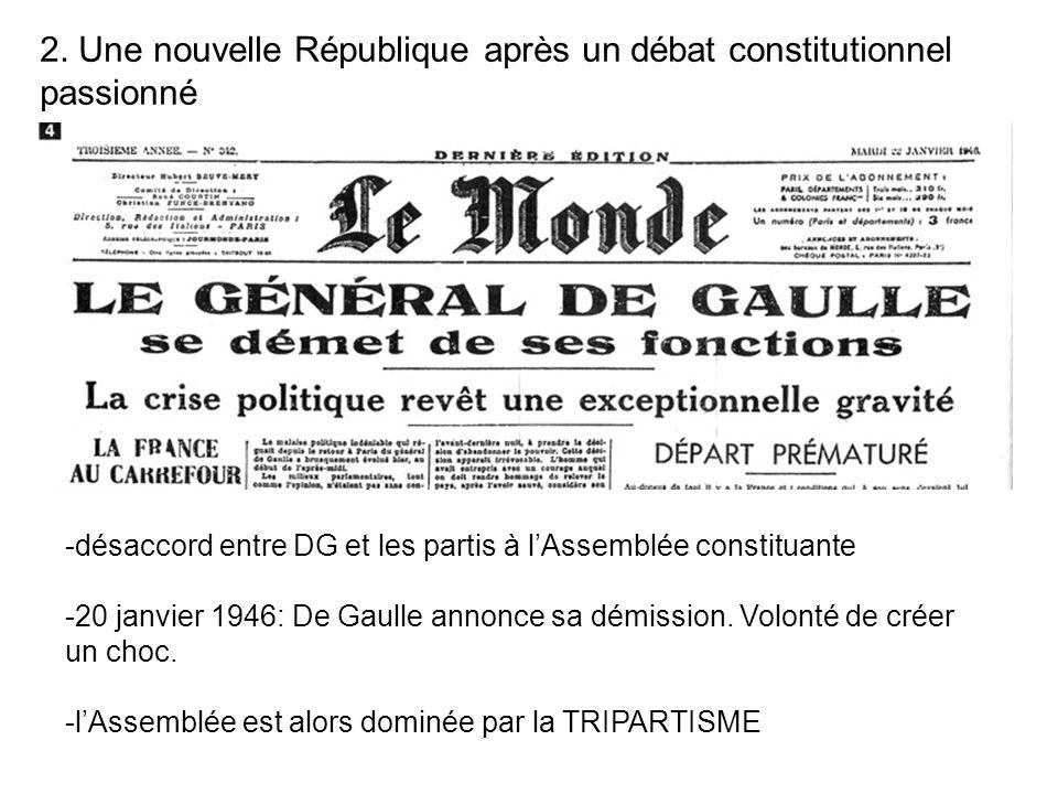 2. Une nouvelle République après un débat constitutionnel passionné -désaccord entre DG et les partis à lAssemblée constituante -20 janvier 1946: De G