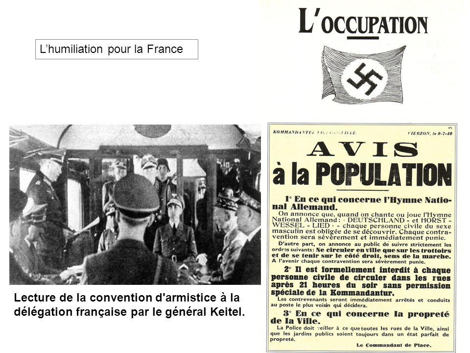 Lecture de la convention d'armistice à la délégation française par le général Keitel. Lhumiliation pour la France