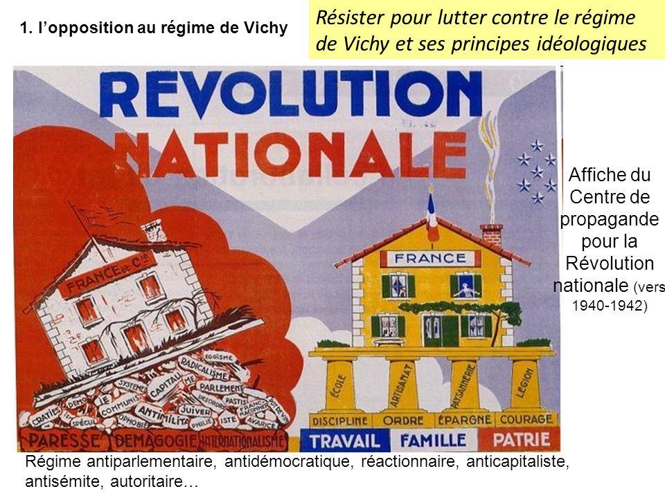1. lopposition au régime de Vichy Affiche du Centre de propagande pour la Révolution nationale (vers 1940-1942) Régime antiparlementaire, antidémocrat