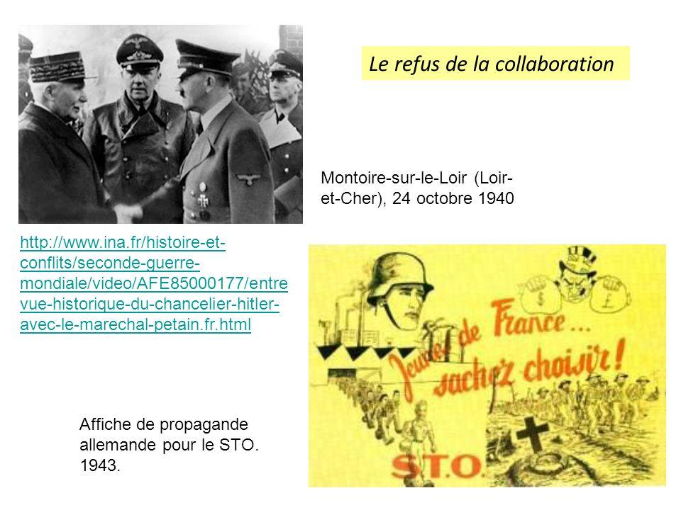 Affiche de propagande allemande pour le STO. 1943. http://www.ina.fr/histoire-et- conflits/seconde-guerre- mondiale/video/AFE85000177/entre vue-histor