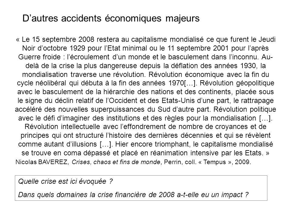 « Le 15 septembre 2008 restera au capitalisme mondialisé ce que furent le Jeudi Noir doctobre 1929 pour lEtat minimal ou le 11 septembre 2001 pour laprès Guerre froide : lécroulement dun monde et le basculement dans linconnu.