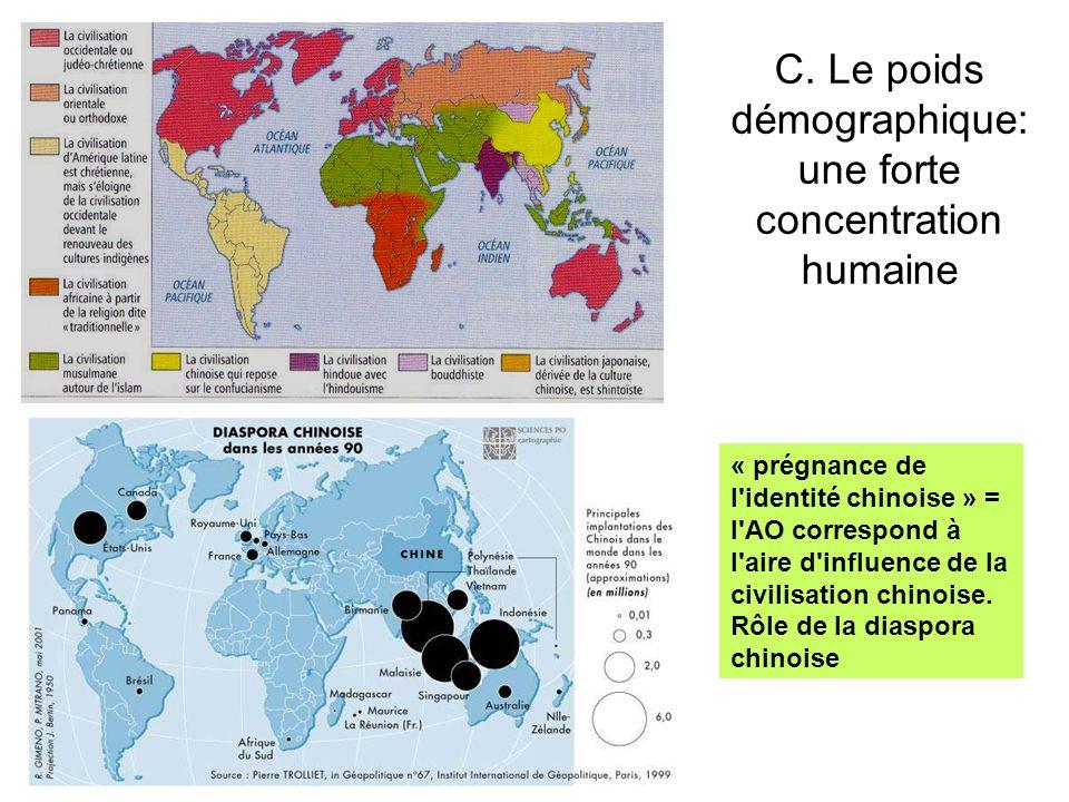 C. Le poids démographique: une forte concentration humaine « prégnance de l'identité chinoise » = l'AO correspond à l'aire d'influence de la civilisat