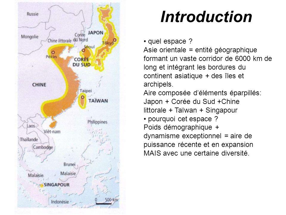 Introduction quel espace ? Asie orientale = entité géographique formant un vaste corridor de 6000 km de long et intégrant les bordures du continent as