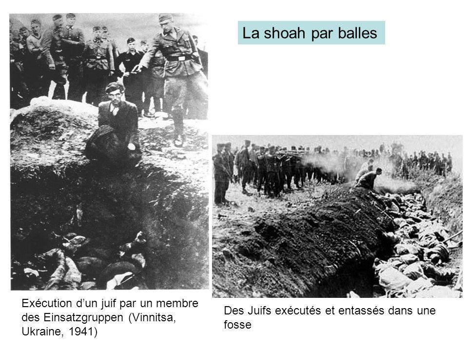 Exécution dun juif par un membre des Einsatzgruppen (Vinnitsa, Ukraine, 1941) Des Juifs exécutés et entassés dans une fosse La shoah par balles