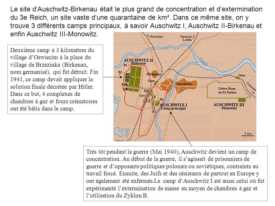 Le site dAuschwitz-Birkenau était le plus grand de concentration et dextermination du 3e Reich, un site vaste dune quarantaine de km². Dans ce même si
