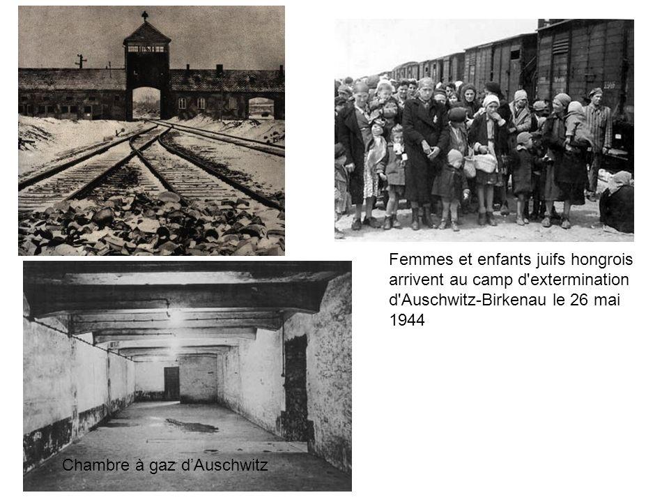 Femmes et enfants juifs hongrois arrivent au camp d'extermination d'Auschwitz-Birkenau le 26 mai 1944 Chambre à gaz dAuschwitz
