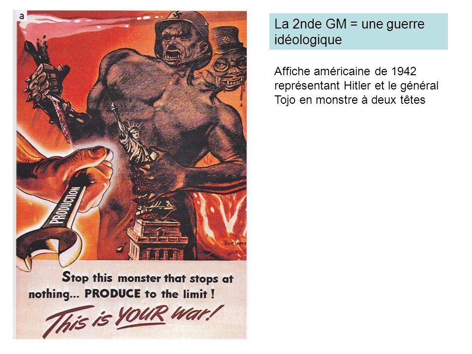 Affiche américaine de 1942 représentant Hitler et le général Tojo en monstre à deux têtes La 2nde GM = une guerre idéologique