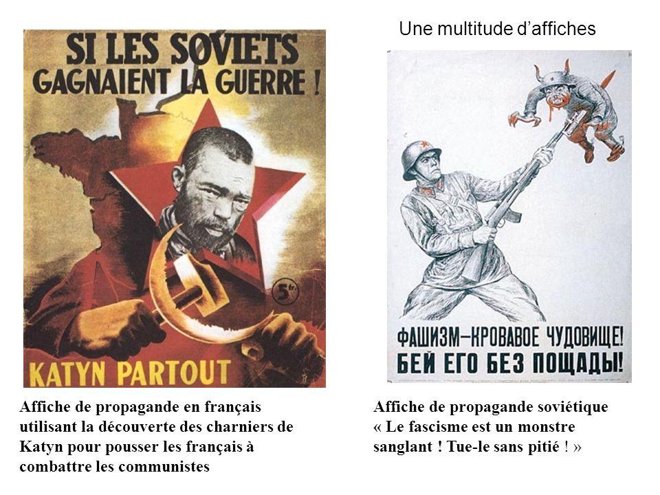 Affiche de propagande soviétique « Le fascisme est un monstre sanglant ! Tue-le sans pitié ! » Affiche de propagande en français utilisant la découver