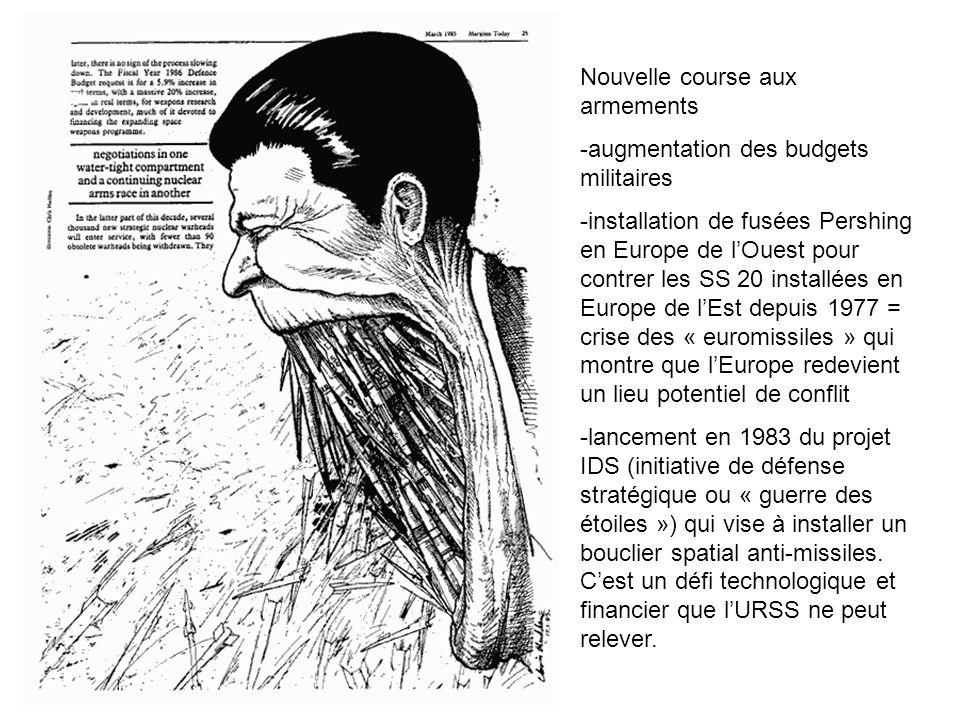 Nouvelle course aux armements -augmentation des budgets militaires -installation de fusées Pershing en Europe de lOuest pour contrer les SS 20 install