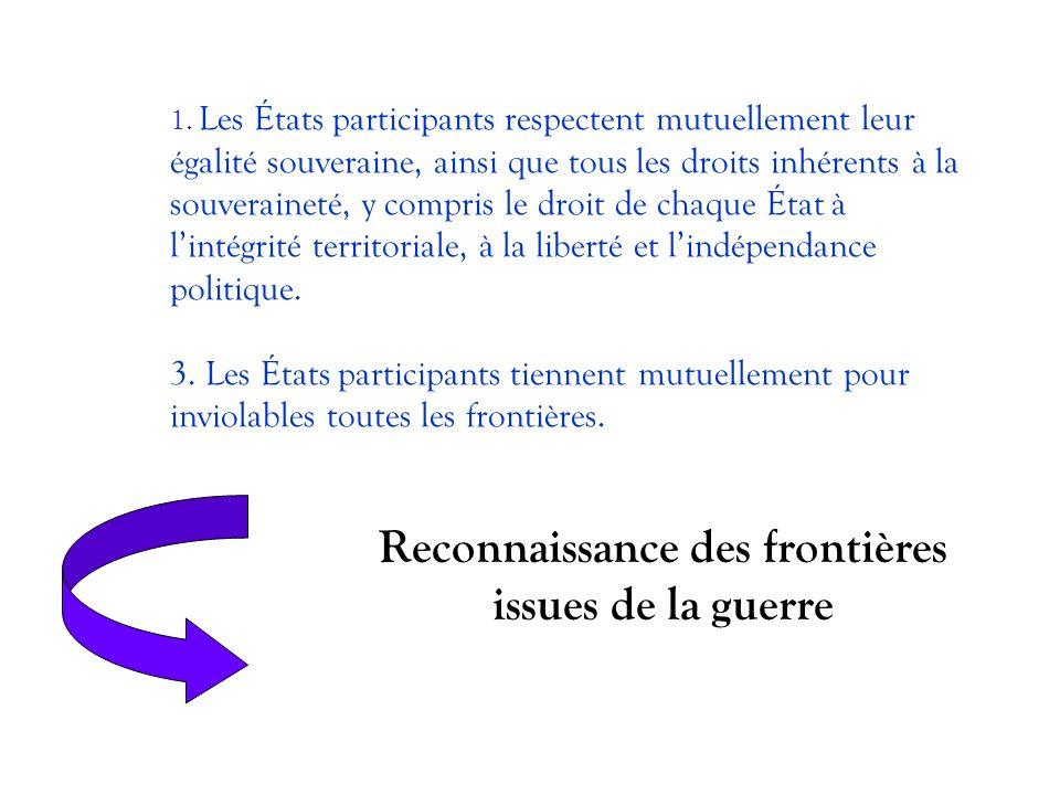 1. Les États participants respectent mutuellement leur égalité souveraine, ainsi que tous les droits inhérents à la souveraineté, y compris le droit d