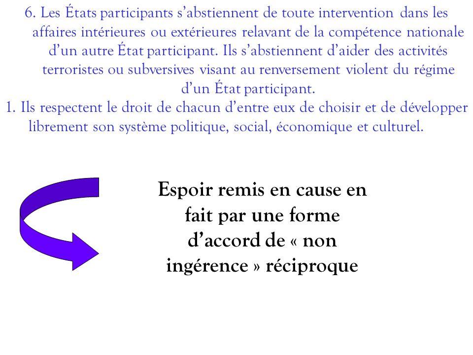 6. Les États participants sabstiennent de toute intervention dans les affaires intérieures ou extérieures relavant de la compétence nationale dun autr