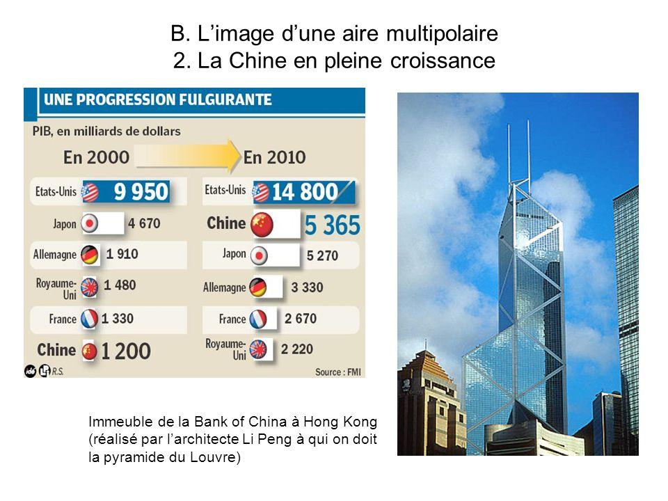 B. Limage dune aire multipolaire 2. La Chine en pleine croissance Immeuble de la Bank of China à Hong Kong (réalisé par larchitecte Li Peng à qui on d