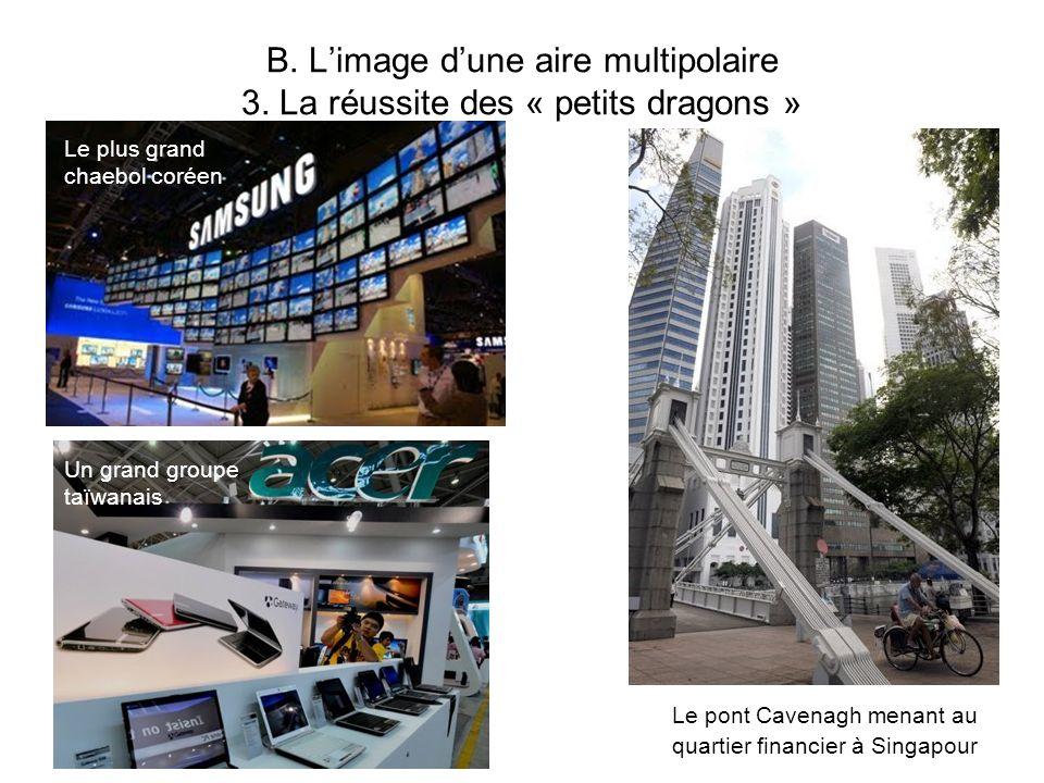 B. Limage dune aire multipolaire 3. La réussite des « petits dragons » Le pont Cavenagh menant au quartier financier à Singapour Le plus grand chaebol
