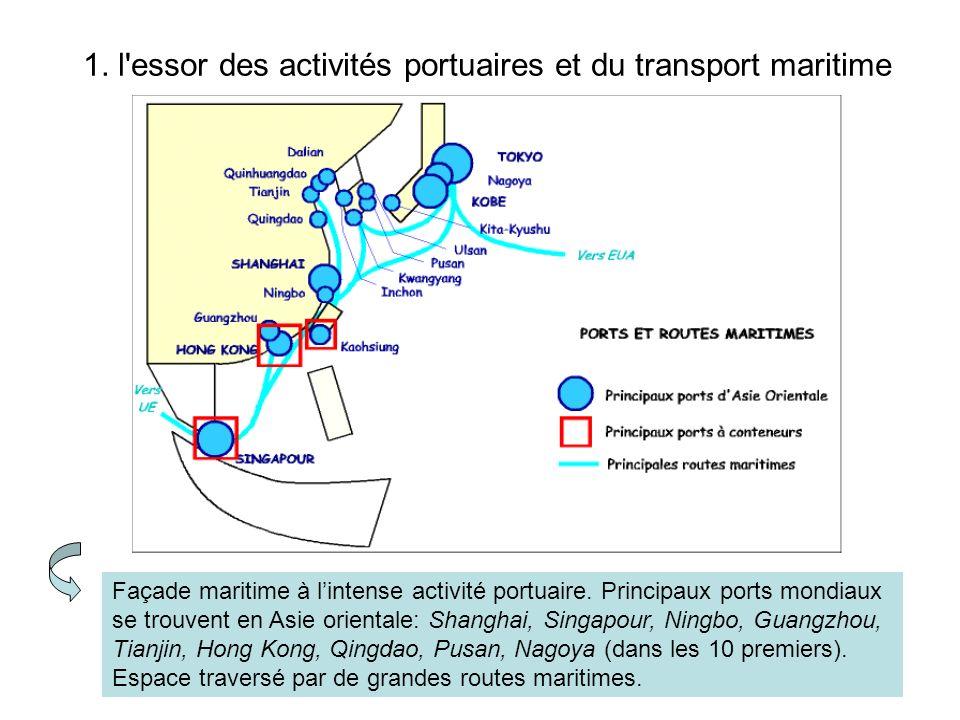 1. l'essor des activités portuaires et du transport maritime Façade maritime à lintense activité portuaire. Principaux ports mondiaux se trouvent en A