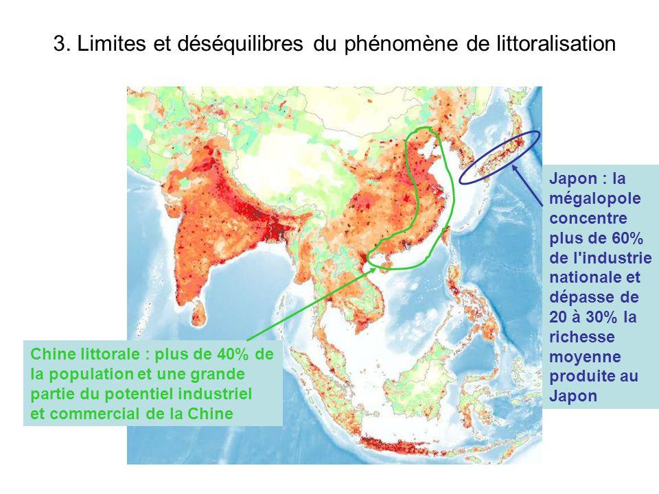 3. Limites et déséquilibres du phénomène de littoralisation Japon : la mégalopole concentre plus de 60% de l'industrie nationale et dépasse de 20 à 30
