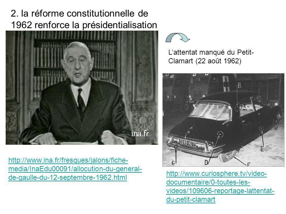 http://www.curiosphere.tv/video- documentaire/0-toutes-les- videos/109606-reportage-lattentat- du-petit-clamart 2. la réforme constitutionnelle de 196