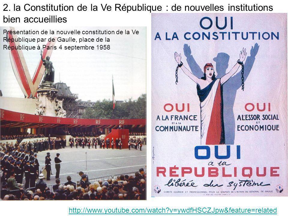 http://www.youtube.com/watch?v=ywdfHSCZJpw&feature=related Présentation de la nouvelle constitution de la Ve République par de Gaulle, place de la Rép
