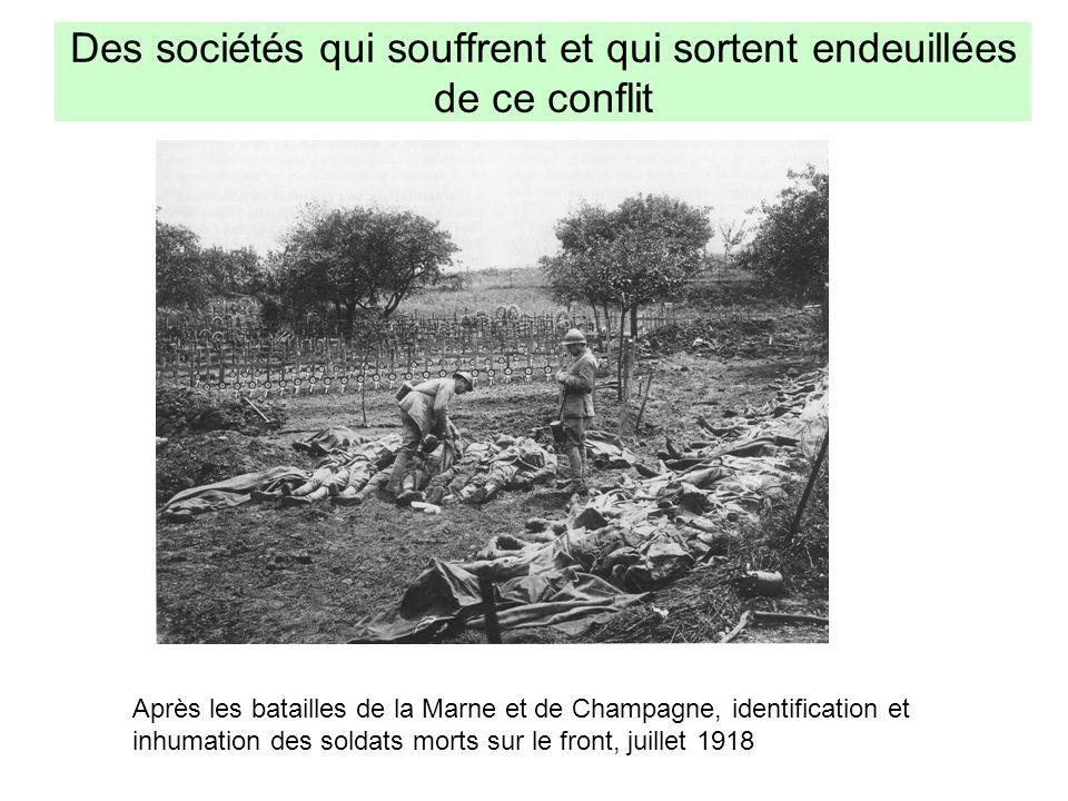 Des sociétés qui souffrent et qui sortent endeuillées de ce conflit Après les batailles de la Marne et de Champagne, identification et inhumation des