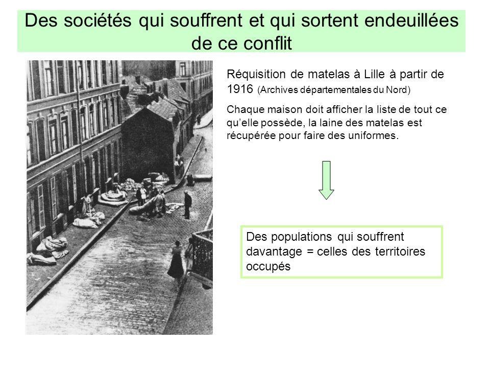 Des sociétés qui souffrent et qui sortent endeuillées de ce conflit Réquisition de matelas à Lille à partir de 1916 (Archives départementales du Nord)