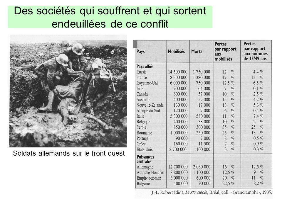 Des sociétés qui souffrent et qui sortent endeuillées de ce conflit Soldats allemands sur le front ouest