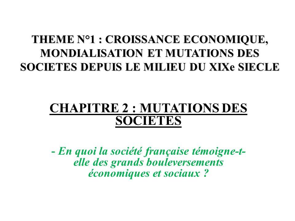 THEME N°1 : CROISSANCE ECONOMIQUE, MONDIALISATION ET MUTATIONS DES SOCIETES DEPUIS LE MILIEU DU XIXe SIECLE CHAPITRE 2 : MUTATIONS DES SOCIETES - En q
