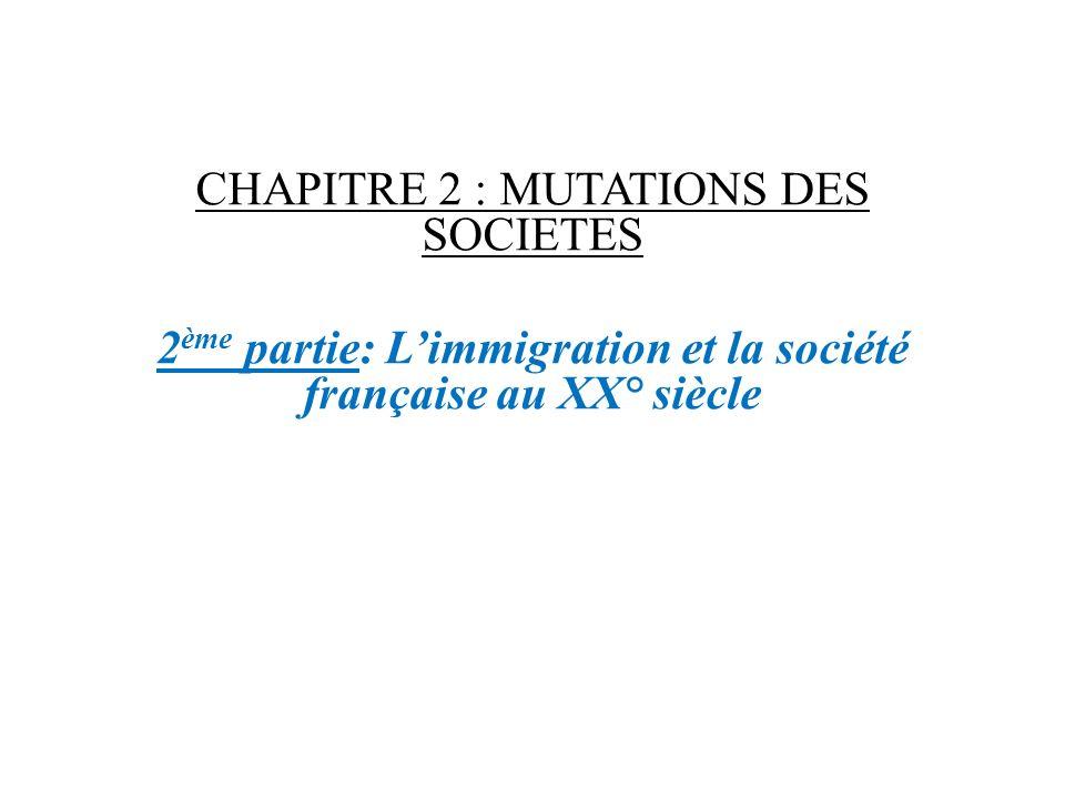 CHAPITRE 2 : MUTATIONS DES SOCIETES 2 ème partie: Limmigration et la société française au XX° siècle