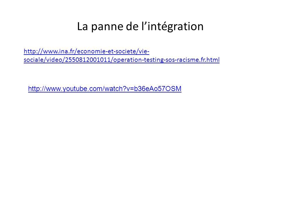 La panne de lintégration http://www.ina.fr/economie-et-societe/vie- sociale/video/2550812001011/operation-testing-sos-racisme.fr.html http://www.youtu