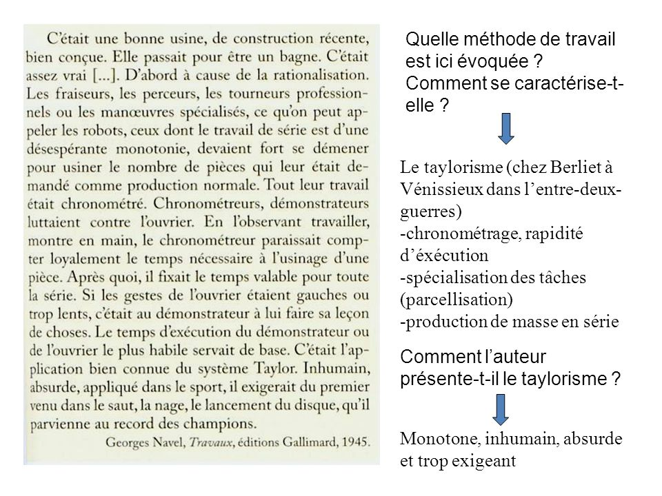 Le taylorisme (chez Berliet à Vénissieux dans lentre-deux- guerres) -chronométrage, rapidité déxécution -spécialisation des tâches (parcellisation) -p