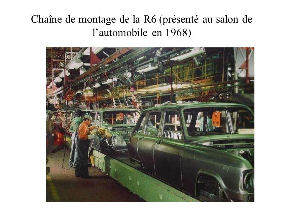 Chaîne de montage de la R6 (présenté au salon de lautomobile en 1968)