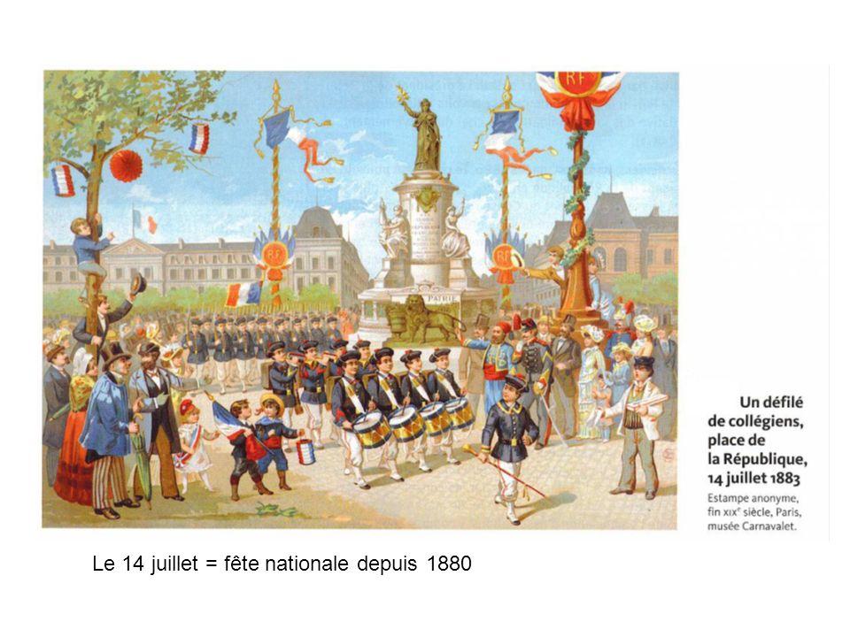 Le 14 juillet = fête nationale depuis 1880