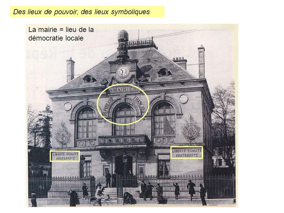 Des lieux de pouvoir, des lieux symboliques La mairie = lieu de la démocratie locale