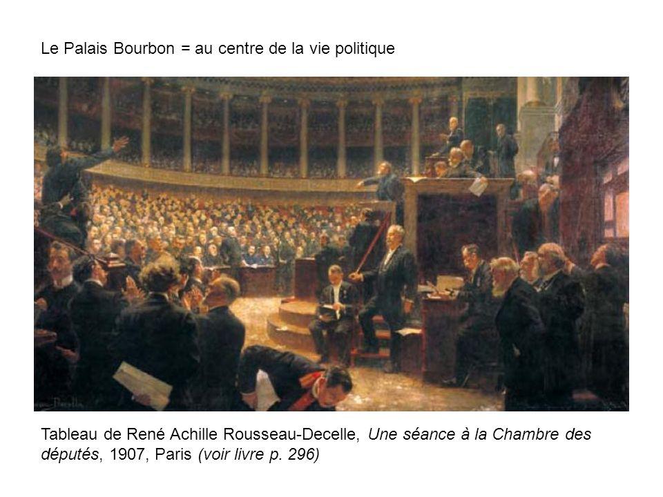 Le Palais Bourbon = au centre de la vie politique Tableau de René Achille Rousseau-Decelle, Une séance à la Chambre des députés, 1907, Paris (voir liv