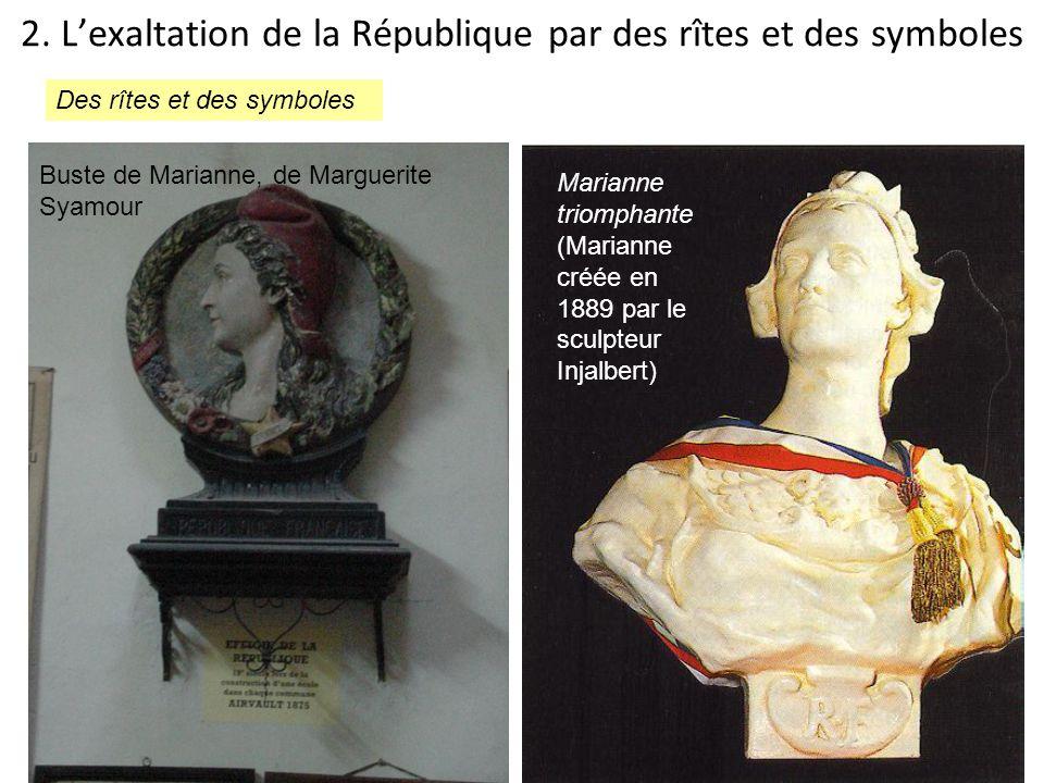 2. Lexaltation de la République par des rîtes et des symboles Marianne triomphante (Marianne créée en 1889 par le sculpteur Injalbert) Buste de Marian