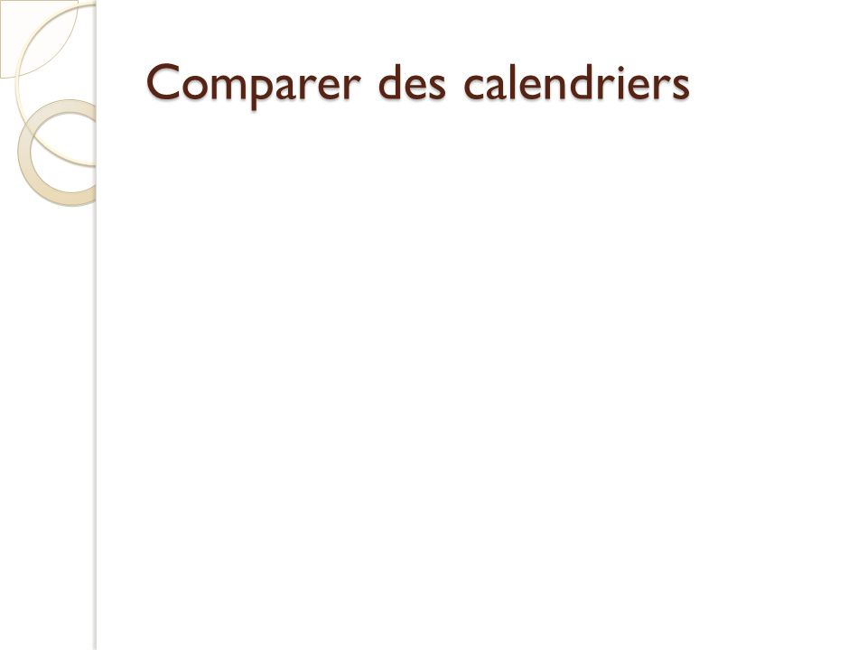 Comparer des calendriers