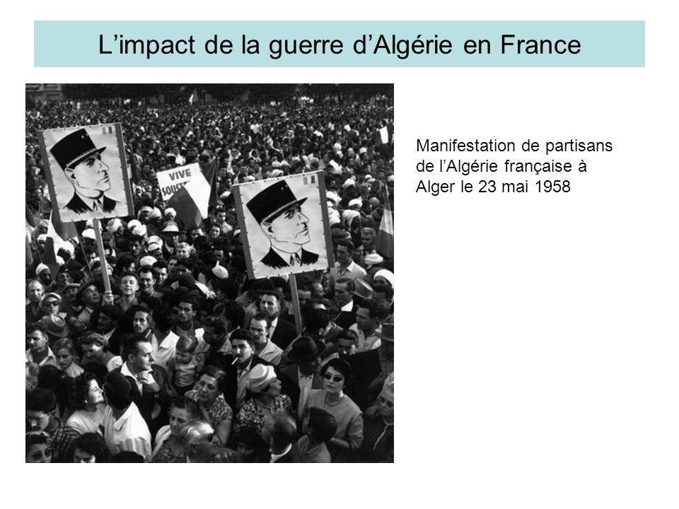 Tensions politiques accrues Semaine des barricades à Alger organisée par des pieds-noirs (24 au 31 janvier 1960) avril 1961 : putsch manqué des généraux à Alger