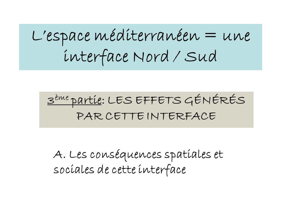 3 ème partie: LES EFFETS GÉNÉRÉS PAR CETTE INTERFACE Lespace méditerranéen = une interface Nord / Sud A. Les conséquences spatiales et sociales de cet
