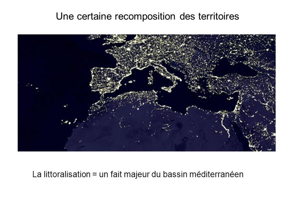 Une certaine recomposition des territoires La littoralisation = un fait majeur du bassin méditerranéen