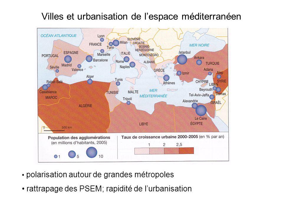 Villes et urbanisation de lespace méditerranéen polarisation autour de grandes métropoles rattrapage des PSEM; rapidité de lurbanisation
