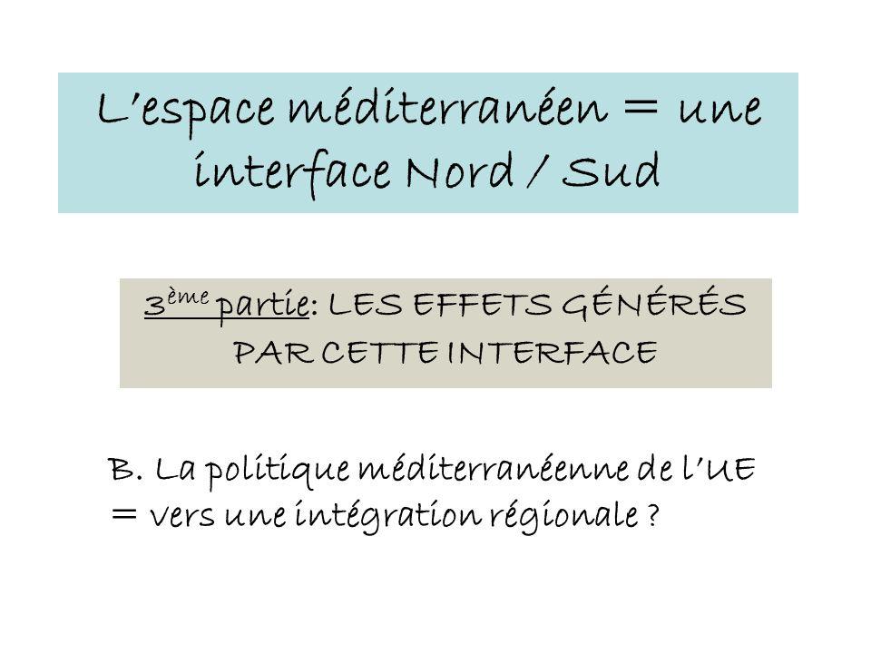 3 ème partie: LES EFFETS GÉNÉRÉS PAR CETTE INTERFACE Lespace méditerranéen = une interface Nord / Sud B. La politique méditerranéenne de lUE = vers un