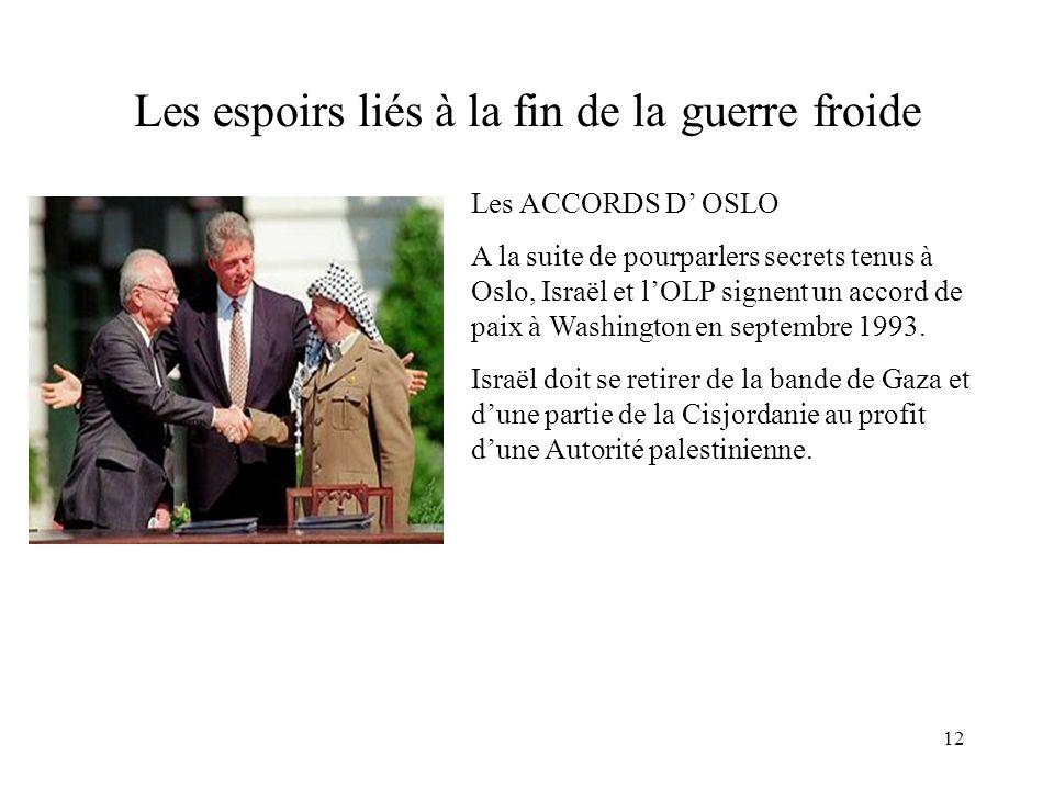 12 Les espoirs liés à la fin de la guerre froide Les ACCORDS D OSLO A la suite de pourparlers secrets tenus à Oslo, Israël et lOLP signent un accord d