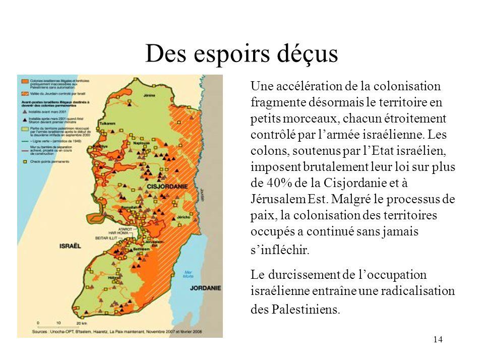 14 Des espoirs déçus Une accélération de la colonisation fragmente désormais le territoire en petits morceaux, chacun étroitement contrôlé par larmée