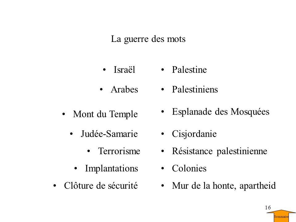16 La guerre des mots ColoniesImplantations Mont du Temple Esplanade des Mosquées TerrorismeRésistance palestinienne IsraëlPalestine Judée-SamarieCisj
