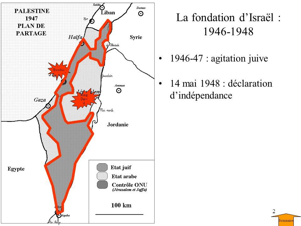 2 La fondation dIsraël : 1946-1948 1946-47 : agitation juive 14 mai 1948 : déclaration dindépendance King Davi d Exodus Sommaire