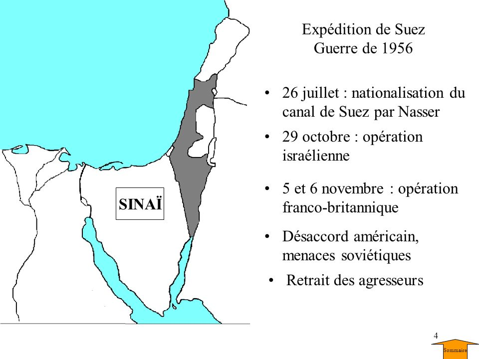 4 Expédition de Suez Guerre de 1956 26 juillet : nationalisation du canal de Suez par Nasser 29 octobre : opération israélienne CANAL DE SUEZ 5 et 6 n