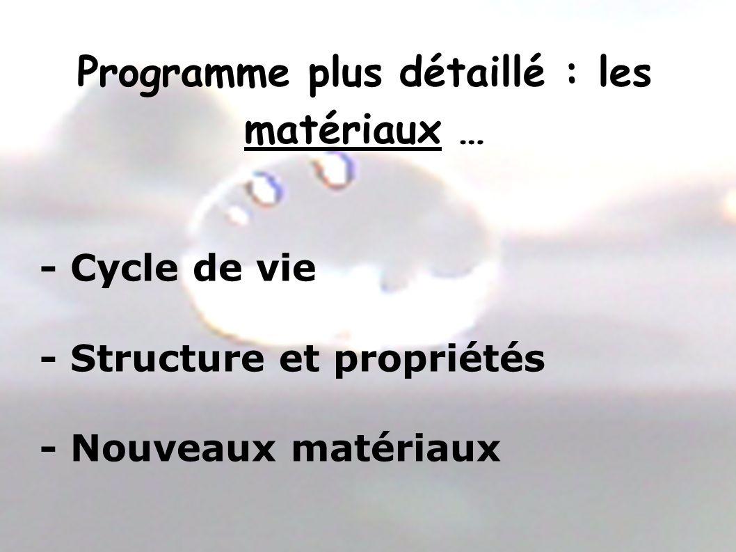 Programme plus détaillé : les matériaux … - Cycle de vie - Structure et propriétés - Nouveaux matériaux