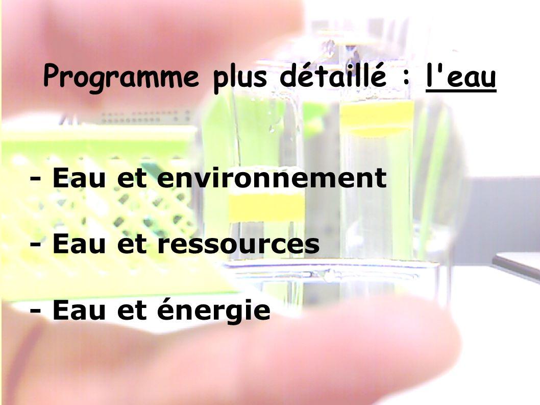 Programme plus détaillé : l eau - Eau et environnement - Eau et ressources - Eau et énergie