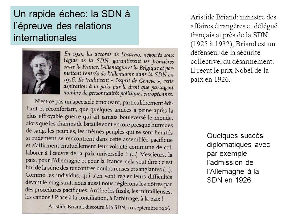 Un rapide échec: la SDN à lépreuve des relations internationales Quelques succès diplomatiques avec par exemple ladmission de lAllemagne à la SDN en 1
